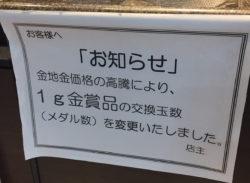 金相場高騰、東京で再び「1グラム金賞品」値上げ